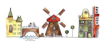 Vattenfärgkontur av Amsterdam vektor illustrationer