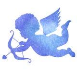 Vattenfärgkontur av en ängel vattenfärgmålning på vit b Royaltyfria Bilder