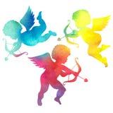 Vattenfärgkontur av en ängel vattenfärgmålning på vit b Royaltyfri Foto