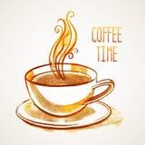 Vattenfärgkopp kaffe stock illustrationer