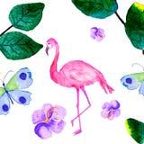 Vattenfärgkort av tropiska sidor och rosa flamingo som isoleras på vit bakgrund Arkivbild