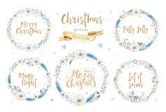 Vattenfärgkort för glad jul med blom- beståndsdelar Bokstäveraffischer för lyckligt nytt år Vinterxmas-blomma och filial stock illustrationer
