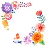 Vattenfärgkort med blommor och fåglar Arkivfoton