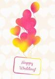 Vattenfärgkort med den sömlösa modellen från ballonger Royaltyfri Fotografi