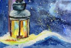 Vattenfärgkort med en lykta i snön royaltyfri illustrationer
