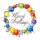 Vattenfärgkrans julen dekorerar nya home idéer för garnering till stock illustrationer