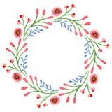 Vattenfärgkrans med blommor Vår- eller sommarram stock illustrationer
