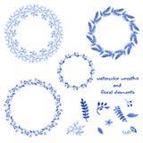 Vattenfärgkransar och blom- beståndsdelar Royaltyfri Illustrationer