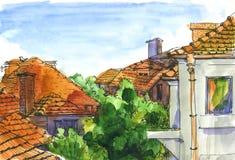 Vattenfärglandskap med hus stock illustrationer