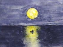 Vattenfärglandskapfartyg och mannen som är ensam i havet med full gul månereflexion i vatten royaltyfri illustrationer