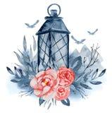 Vattenfärglyktan med röda blommor, indigoblått förgrena sig, och sidor, berg och flygfåglar räcker den utdragna blom- buketten Arkivfoton