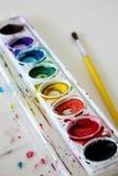Vattenfärgmålarfärg på isolerad vit bakgrund Royaltyfri Bild