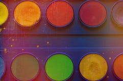 Vattenfärgmålarfärgask arkivbilder