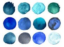 Vattenfärgmålarfärgcirklar Stock Illustrationer