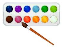 Vattenfärgmålarfärgsymbol med borsten Arkivbild