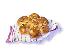 Vattenfärgmålning av bröd vektor illustrationer