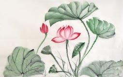 Vattenfärgmålning av den lotusblommasidor och blomman stock illustrationer
