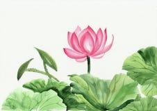 Vattenfärgmålning av den rosa lotusblommablomman Arkivfoto