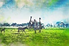 Vattenfärgmålning av det sceniska landskapet av savann stock illustrationer