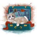 Vattenfärgmålning av en älskvärd katt i en resväska stock illustrationer