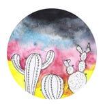 Vattenfärgmålning av en kaktus Arkivfoton
