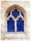 Vattenfärgmålning av ett gammalt domkyrkafönster Royaltyfri Bild