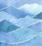 Vattenfärgmålning av ettträd eller en pinjeskog framme av blåa dimmiga berg stock illustrationer