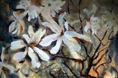 Vattenfärgmålning av härliga blommor royaltyfri illustrationer