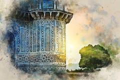 Vattenfärgmålning av Itimad-ud-Daulah eller Baby Taj i Agra, Indien vektor illustrationer