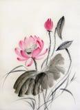 Vattenfärgmålning av lotusblommablomman stock illustrationer