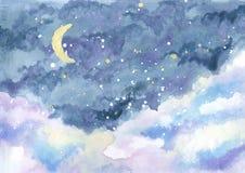 Vattenfärgmålning av natthimmel med den växande månen bland stjärnor stock illustrationer