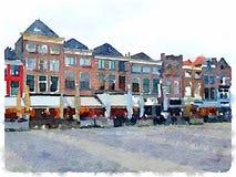 Vattenfärgmålning av raden av hus i delftfajans i Nederländerna Arkivfoto