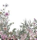 Vattenfärgmålning av sidor och blomman, på vit bakgrund stock illustrationer