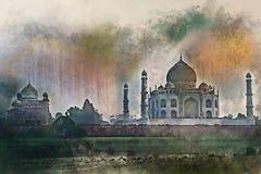Vattenfärgmålning av Taj Mahal den sceniska solnedgångsikten i Agra, Indien royaltyfri illustrationer