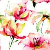 Vattenfärgmålning av tulpan- och tusenskönablommor Arkivbild