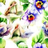 Vattenfärgmålning med ros- och pingstliljablommor Royaltyfri Fotografi