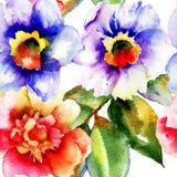Vattenfärgmålning med ros- och pingstliljablommor Arkivbilder