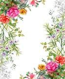 Vattenfärgmålningsidor och blomma, på vit bakgrund royaltyfri illustrationer