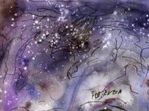 Vattenfärgmålningtextur, universum, blänker, utrymme royaltyfri illustrationer