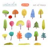 Vattenfärgmålningträd, mapp, en uppsättning av träd Arkivbilder