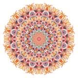 Vattenfärgmandala med sakral geometri Utsmyckat snöra åt på vit bakgrund stock illustrationer