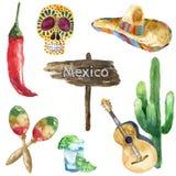 VattenfärgMexico symboler Arkivbild
