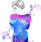 Vattenfärgmodeillustration av kvinnan i klänning Royaltyfri Bild