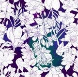 Vattenfärgmodell av exotiska blommor stock illustrationer