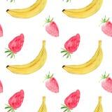 Vattenfärgmodell med bananen och jordgubben, för tryck, textil, rengöringsduk som förpackar Vektor Illustrationer
