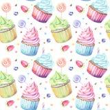 Vattenfärgmodell med muffin Royaltyfri Foto