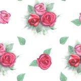 Vattenfärgmodell med rosor och sidor på vit bakgrund Arkivfoto