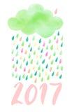 Vattenfärgmoln med regn Arkivfoto