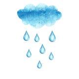 Vattenfärgmoln- och regndroppar som isoleras på vit bakgrund Arkivfoton