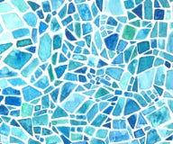 Vattenfärgmosaiktextur Blå kalejdoskopbakgrund Målad geometrisk modell fotografering för bildbyråer
